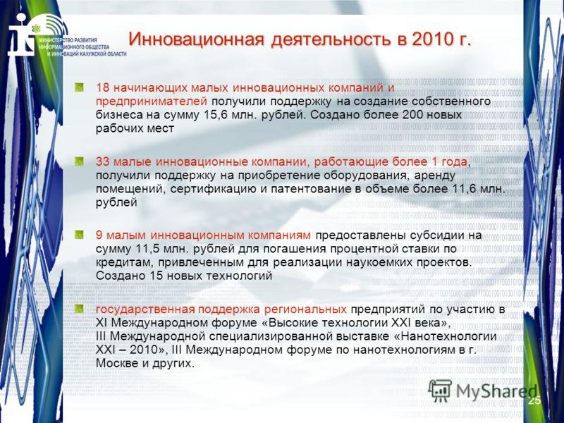 25 Инновационная деятельность в 2010 г. 18 начинающих малых инновационных компаний и предпринимателей получили поддержку на создание собственного бизнеса на сумму 15,6 млн. рублей. Создано более 200 новых рабочих мест 33 малые инновационные компании,