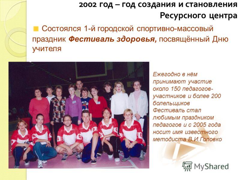 2002 год – год создания и становления Ресурсного центра Состоялся 1-й городской спортивно-массовый праздник Фестиваль здоровья, посвящённый Дню учителя Ежегодно в нём принимают участие около 150 педагогов- участников и более 200 болельщиков Фестиваль