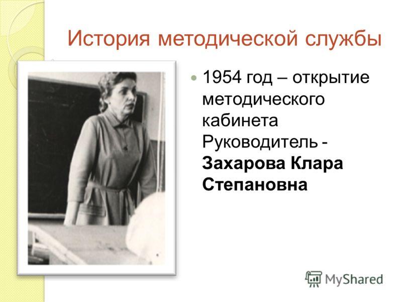 История методической службы 1954 год – открытие методического кабинета Руководитель - Захарова Клара Степановна