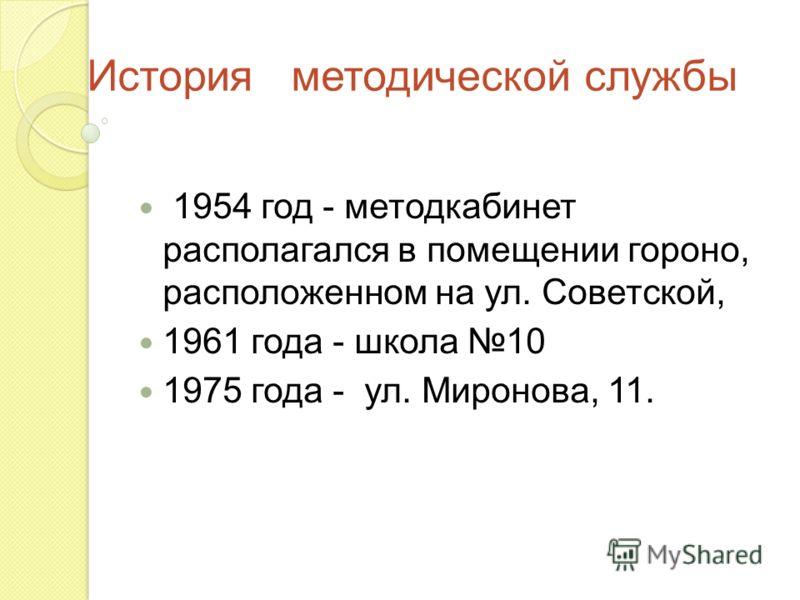 История методической службы 1954 год - методкабинет располагался в помещении гороно, расположенном на ул. Советской, 1961 года - школа 10 1975 года - ул. Миронова, 11.