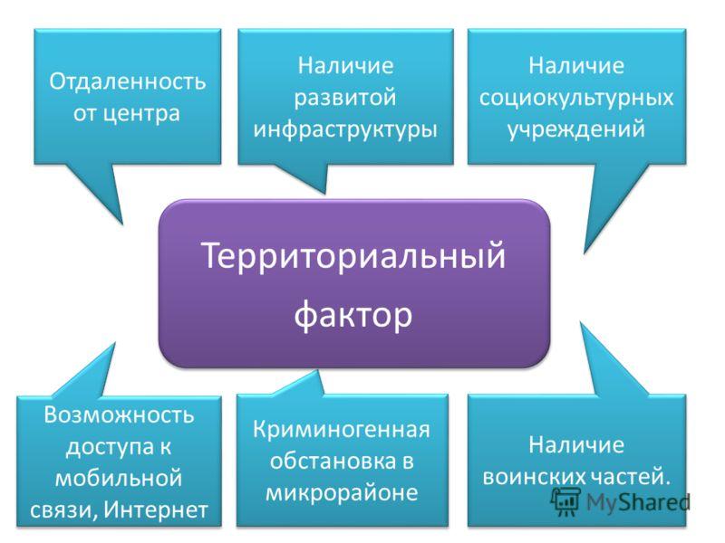 Отдаленность от центра Наличие развитой инфраструктуры Наличие социокультурных учреждений Возможность доступа к мобильной связи, Интернет Криминогенная обстановка в микрорайоне Наличие воинских частей. Территориальный фактор Территориальный фактор