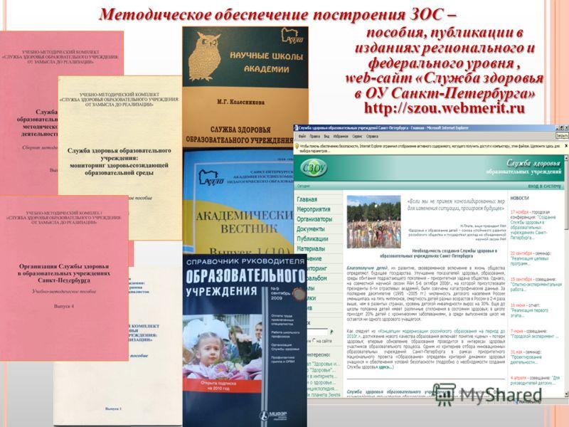 Методическое обеспечение построения ЗОС – пособия, публикации в изданиях регионального и федерального уровня, web-сайт «Служба здоровья в ОУ Санкт-Петербурга» http://szou.webmerit.ru
