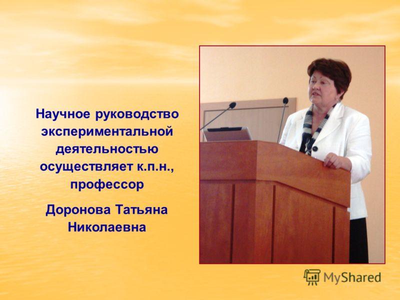 Научное руководство экспериментальной деятельностью осуществляет к.п.н., профессор Доронова Татьяна Николаевна