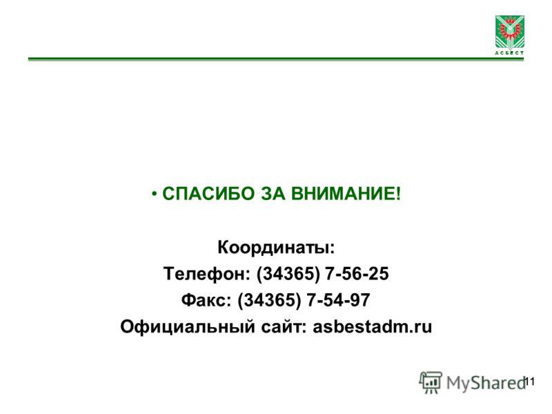 А С Б Е С Т 11 СПАСИБО ЗА ВНИМАНИЕ! Координаты: Телефон: (34365) 7-56-25 Факс: (34365) 7-54-97 Официальный сайт: asbestadm.ru