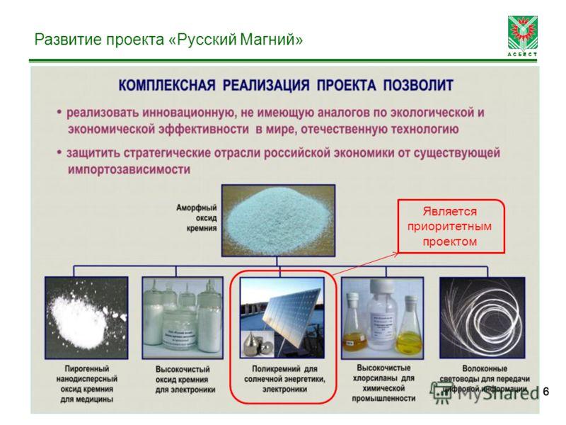 А С Б Е С Т 666 Развитие проекта «Русский Магний» Является приоритетным проектом