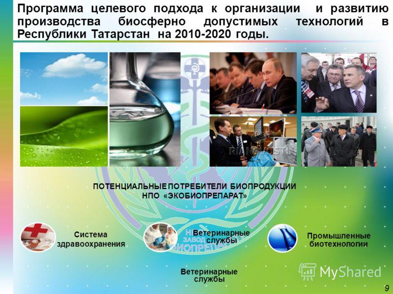 Программа целевого подхода к организации и развитию производства биосферно допустимых технологий в Республики Татарстан на 2010-2020 годы. Система здравоохранения Промышленные биотехнологии Ветеринарные службы 9 ПОТЕНЦИАЛЬНЫЕ ПОТРЕБИТЕЛИ БИОПРОДУКЦИИ