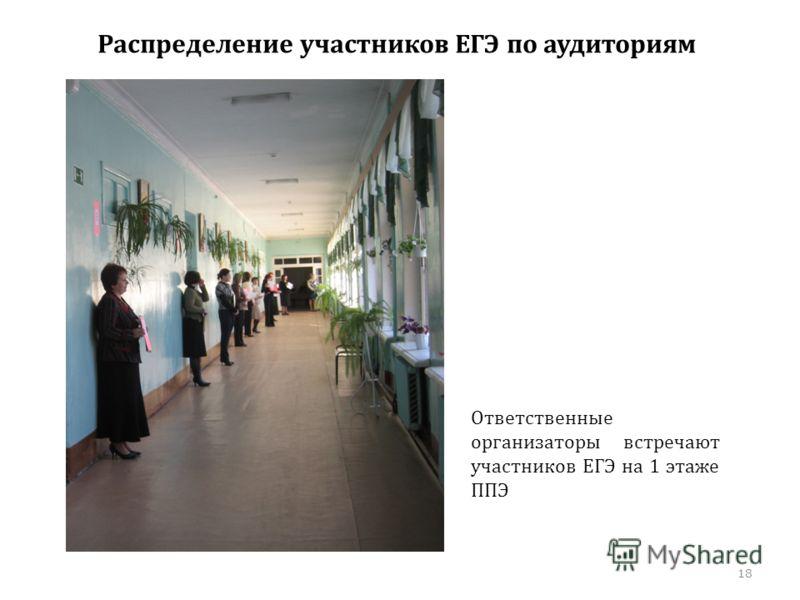 Распределение участников ЕГЭ по аудиториям Ответственные организаторы встречают участников ЕГЭ на 1 этаже ППЭ 18