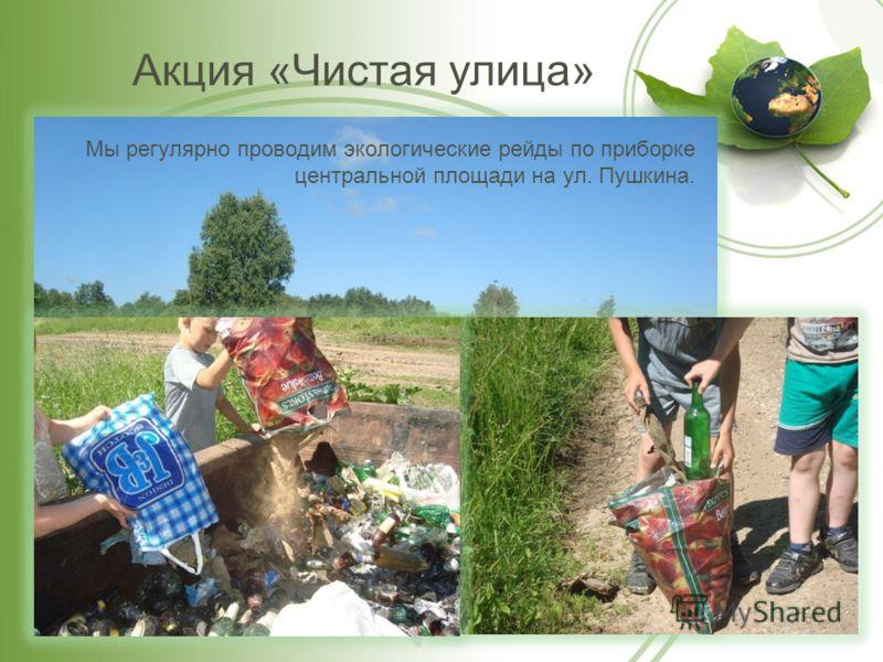 Акция «Чистая улица» Мы регулярно проводим экологические рейды по приборке центральной площади на ул. Пушкина.