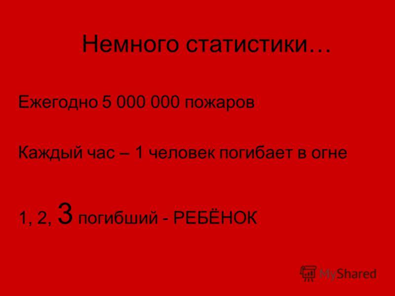 Немного статистики… Ежегодно 5 000 000 пожаров Каждый час – 1 человек погибает в огне 1, 2, 3 погибший - РЕБЁНОК