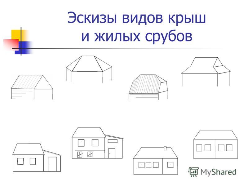 Эскизы видов крыш и жилых срубов