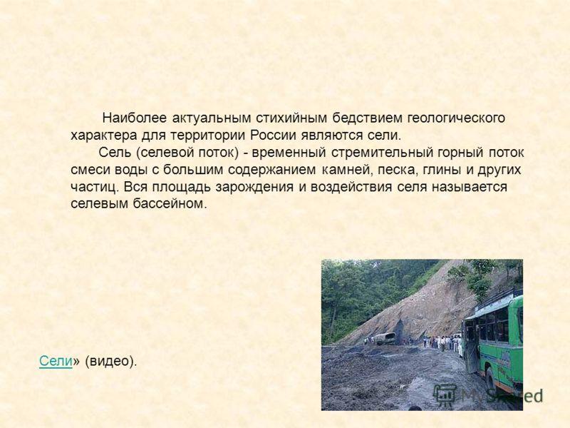 СелиСели» (видео). Наиболее актуальным стихийным бедствием геологического характера для территории России являются сели. Сель (селевой поток) - временный стремительный горный поток смеси воды с большим содержанием камней, песка, глины и других частиц