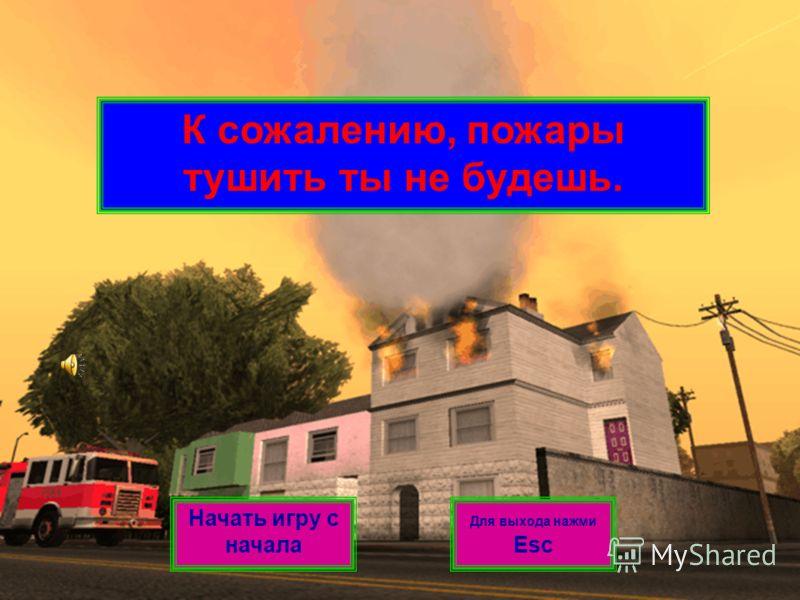 К сожалению, пожары тушить ты не будешь. Начать игру с начала Для выхода нажми Esc