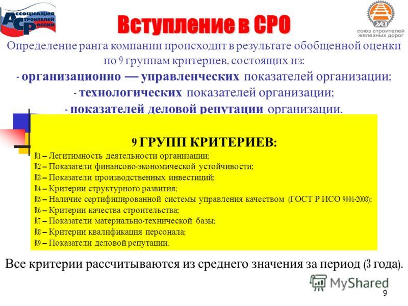 Определение ранга компании происходит в результате обобщенной оценки по 9 группам критериев, состоящих из : - организационно управленческих показателей организации ; - технологических показателей организации ; - показателей деловой репутации организа