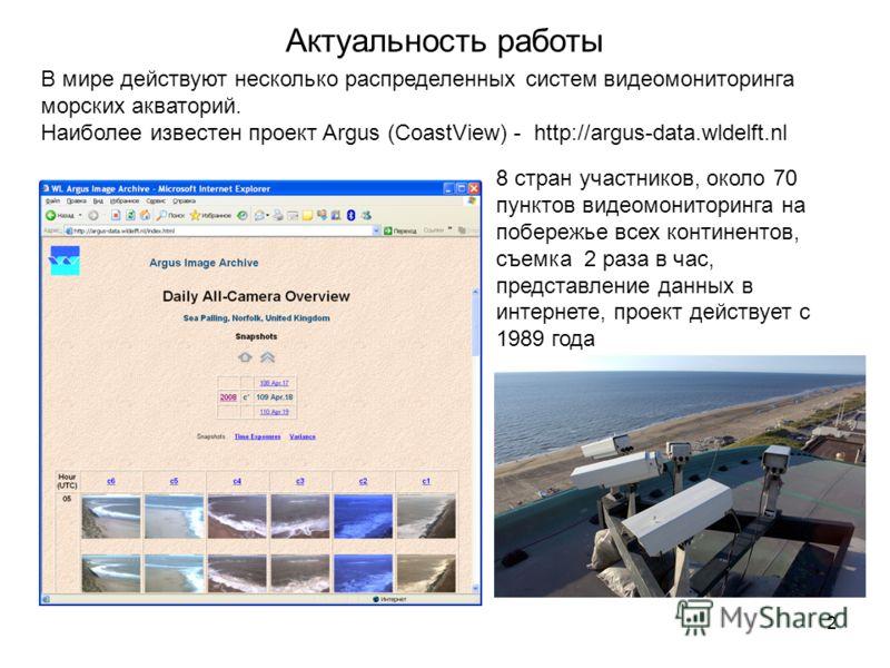 2 Актуальность работы В мире действуют несколько распределенных систем видеомониторинга морских акваторий. Наиболее известен проект Argus (CoastView) - http://argus-data.wldelft.nl 8 стран участников, около 70 пунктов видеомониторинга на побережье вс