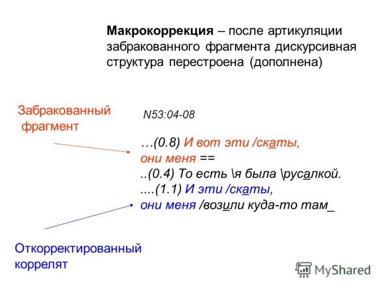 N53:04-08 …(0.8) И вот эти /скаты, они меня ==..(0.4) То есть \я была \русалкой.....(1.1) И эти /скаты, они меня /возили куда-то там_ Макрокоррекция – после артикуляции забракованного фрагмента дискурсивная структура перестроена (дополнена) Забракова