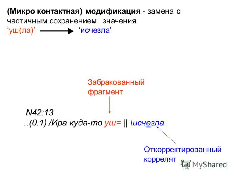 N42:13..(0.1) /Ира куда-то уш= || \исчезла. Забракованный фрагмент Откорректированный коррелят (Микро контактная) модификация - замена с частичным сохранением значения уш(ла) исчезла