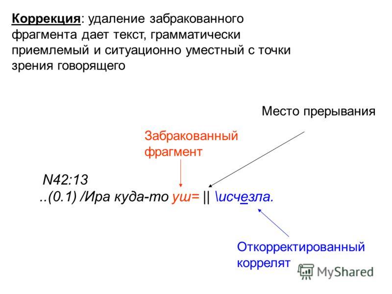 N42:13..(0.1) /Ира куда-то уш= || \исчезла. Забракованный фрагмент Откорректированный коррелят Коррекция: удаление забракованного фрагмента дает текст, грамматически приемлемый и ситуационно уместный с точки зрения говорящего Место прерывания
