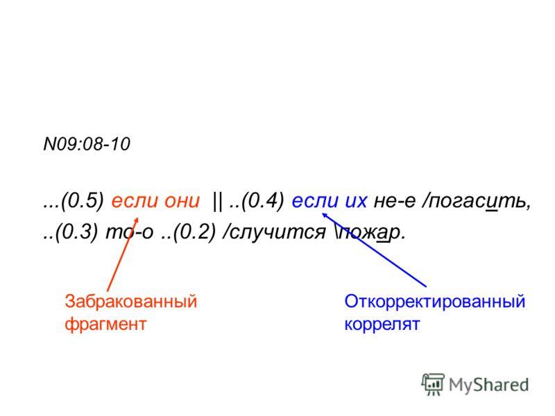 N09:08-10...(0.5) если они ||..(0.4) если их не-е /погасить,..(0.3) то-о..(0.2) /случится \пожар. Откорректированный коррелят Забракованный фрагмент