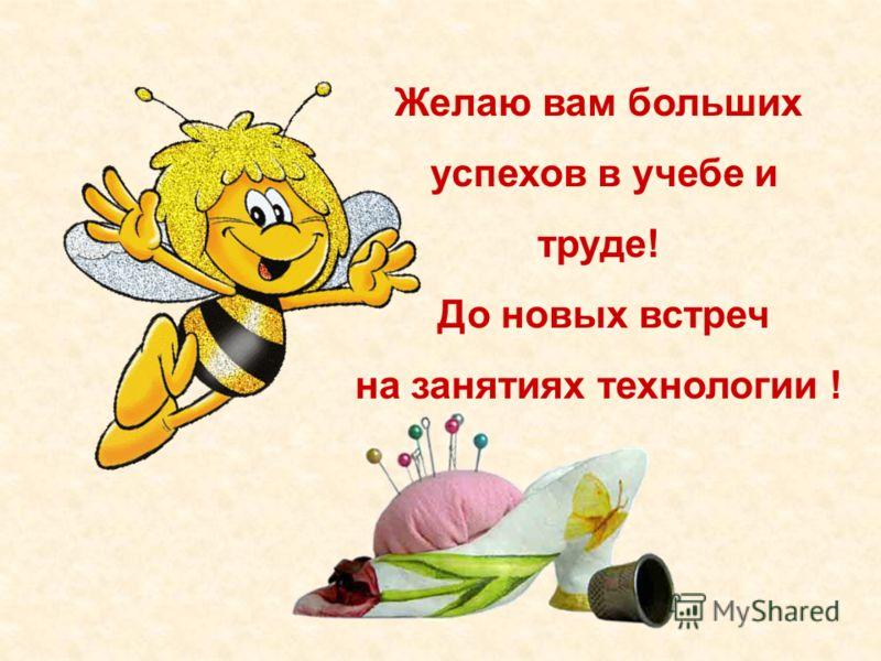 Желаю вам больших успехов в учебе и труде! До новых встреч на занятиях технологии !