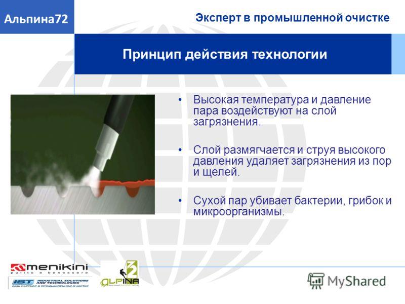 Принцип действия технологии Эксперт в промышленной очистке Альпина72 Высокая температура и давление пара воздействуют на слой загрязнения. Слой размягчается и струя высокого давления удаляет загрязнения из пор и щелей. Сухой пар убивает бактерии, гри
