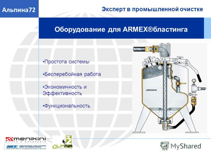 Простота системы Бесперебойная работа Экономичность и Эффективность Функциональность Эксперт в промышленной очистке Альпина72 Оборудование для ARMEX®бластинга