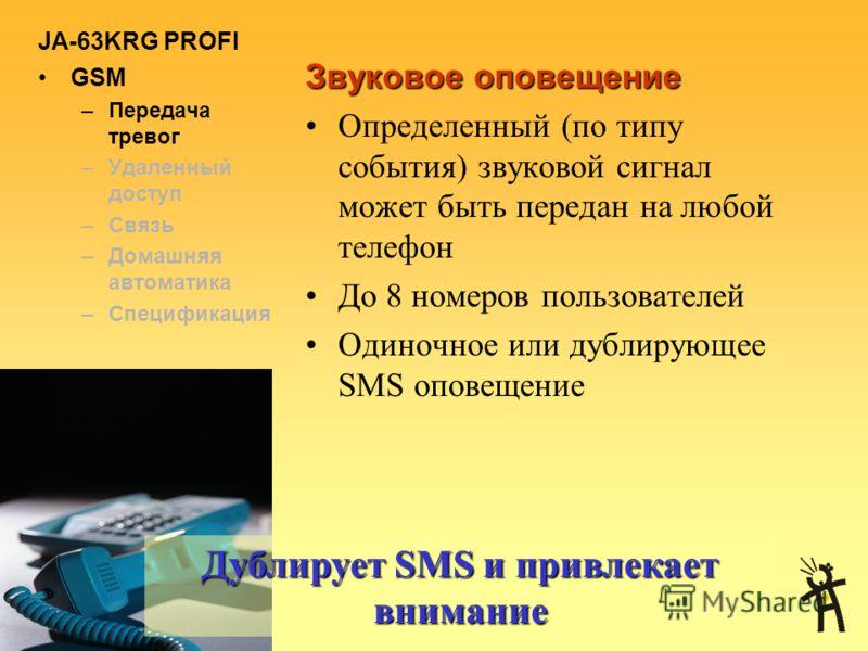 JA-63KRG PROFI GSM –Передача тревог –Удаленный доступ –Связь –Домашняя автоматика –Спецификация Передача SMS на телефоны пользователей Сообщения могут быть полностью настроены пользователем Каждое сообщение содержит: –Название объекта –Тип события (т