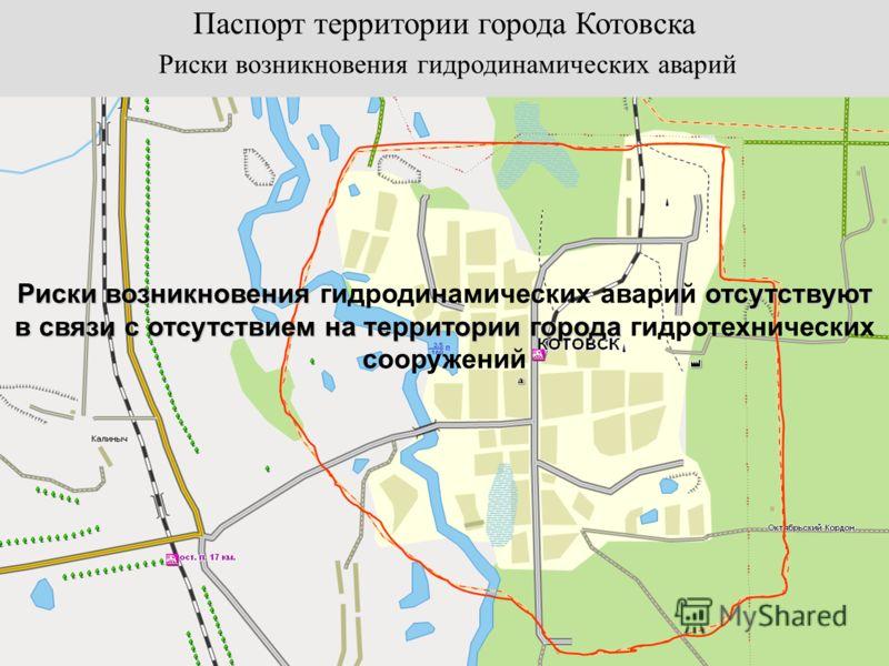 Паспорт территории города Котовска Риски возникновения гидродинамических аварий Риски возникновения отсутствуют в связи с отсутствием на территории города Риски возникновения гидродинамических аварий отсутствуют в связи с отсутствием на территории го