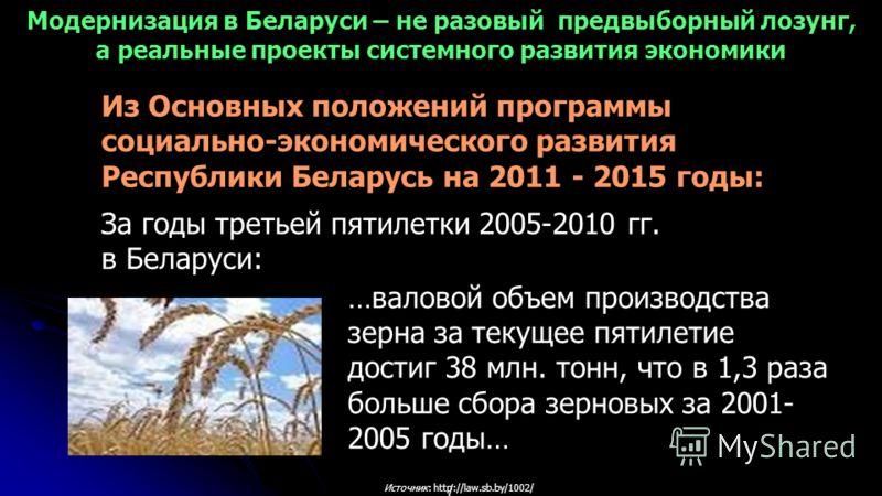 / Источник: http://law.sb.by/1002/ …валовой объем производства зерна за текущее пятилетие достиг 38 млн. тонн, что в 1,3 раза больше сбора зерновых за 2001- 2005 годы… Из Основных положений программы социально-экономического развития Республики Белар