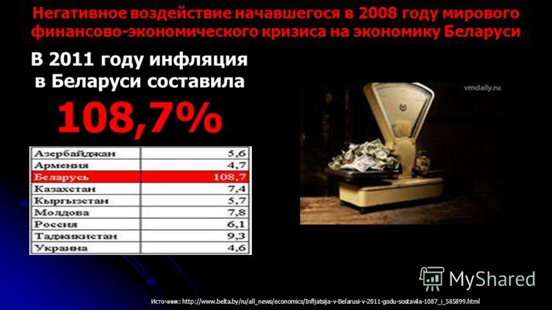 В 2011 году инфляция в Беларуси составила 108,7% Источник: http://www.belta.by/ru/all_news/economics/Infljatsija-v-Belarusi-v-2011-godu-sostavila-1087_i_585899.html Негативное воздействие начавшегося в 2008 году мирового финансово-экономического криз