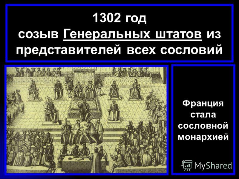 1302 год созыв Генеральных штатов из представителей всех сословий Франция стала сословной монархией