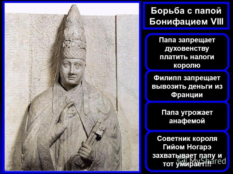 Борьба с папой Бонифацием VIII Папа запрещает духовенству платить налоги королю Филипп запрещает вывозить деньги из Франции Папа угрожает анафемой Советник короля Гийом Ногарэ захватывает папу и тот умирает!!!