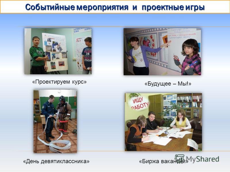 Событийные мероприятия и проектные игры «Проектируем курс» «Будущее – Мы!» «День девятиклассника»«Биржа вакансий»