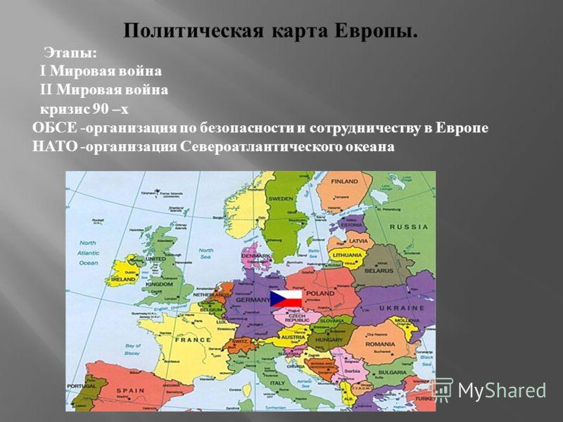 Политическая карта Европы. Этапы : I Мировая война II Мировая война кризис 90 – х ОБСЕ - организация по безопасности и сотрудничеству в Европе НАТО - организация Североатлантического океана