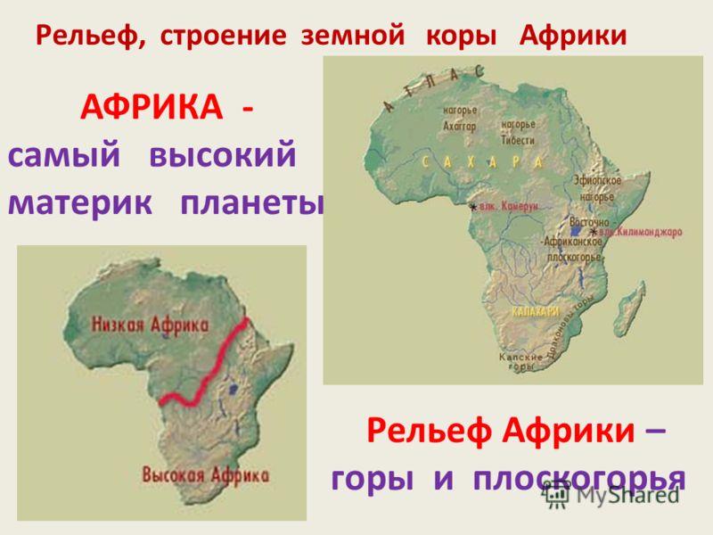 Рельеф, строение земной коры Африки АФРИКА - самый высокий материк планеты Рельеф Африки – горы и плоскогорья
