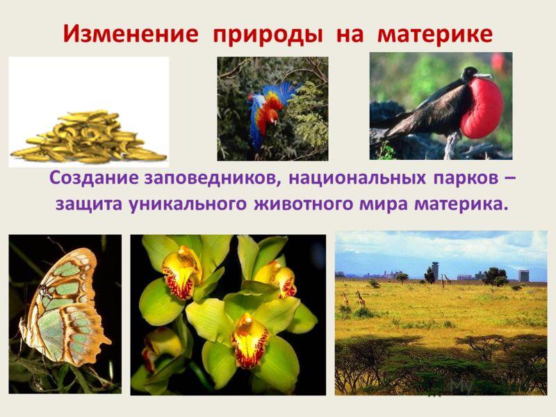 Изменение природы на материке Создание заповедников, национальных парков – защита уникального животного мира материка.