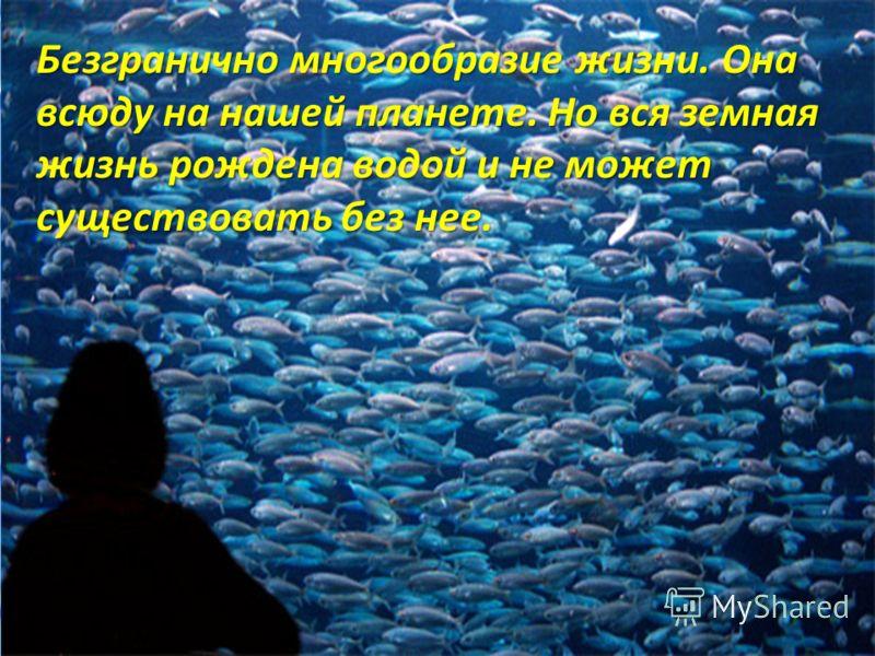 Безгранично многообразие жизни. Она всюду на нашей планете. Но вся земная жизнь рождена водой и не может существовать без нее.