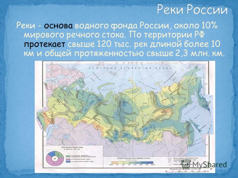 Реки - основа водного фонда России, около 10% мирового речного стока. По территории РФ протекает свыше 120 тыс. рек длиной более 10 км и общей протяженностью свыше 2,3 млн. км.
