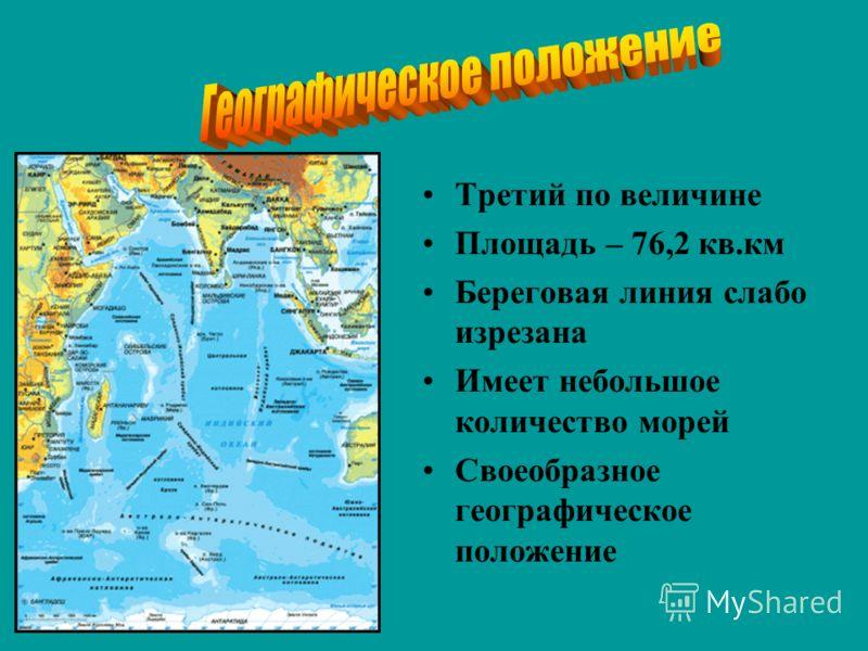 Третий по величине Площадь – 76,2 кв.км Береговая линия слабо изрезана Имеет небольшое количество морей Своеобразное географическое положение
