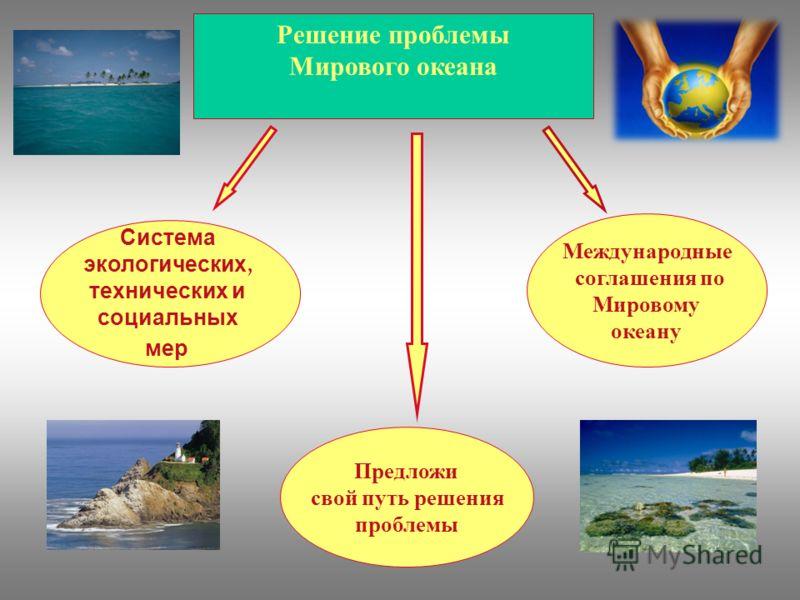 Решение проблемы Мирового океана Система экологических, технических и социальных мер Международные соглашения по Мировому океану Предложи свой путь решения проблемы