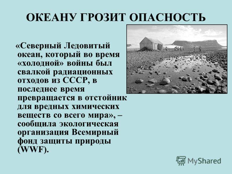 ОКЕАНУ ГРОЗИТ ОПАСНОСТЬ «Северный Ледовитый океан, который во время «холодной» войны был свалкой радиационных отходов из СССР, в последнее время превращается в отстойник для вредных химических веществ со всего мира», – сообщила экологическая организа