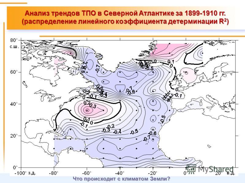 Анализ трендов ТПО в Северной Атлантике за 1899-1910 гг. (распределение линейного коэффициента детерминации R 2 ) Что происходит с климатом Земли?