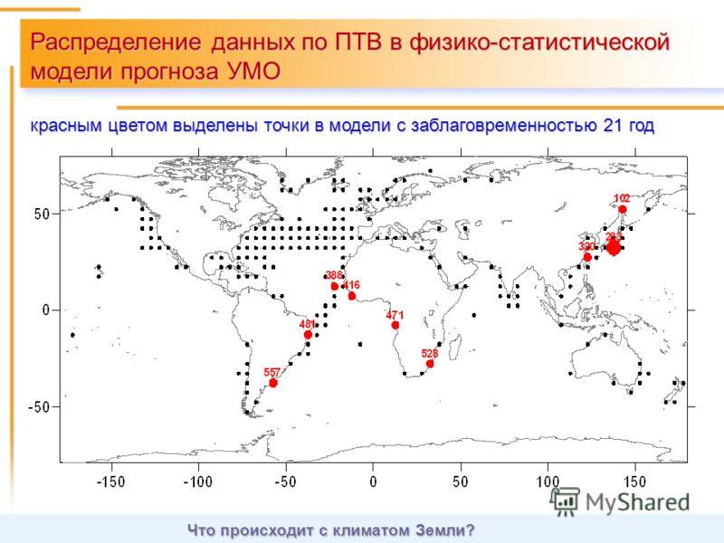 Распределение данных по ПТВ в физико-статистической модели прогноза УМО красным цветом выделены точки в модели с заблаговременностью 21 год Что происходит с климатом Земли?