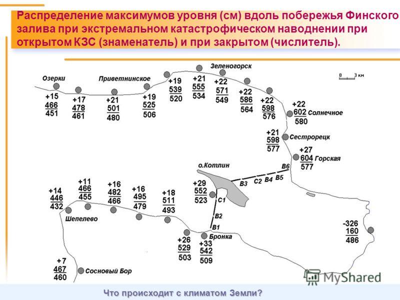 Что происходит с климатом Земли? Распределение максимумов уровня (см) вдоль побережья Финского залива при экстремальном катастрофическом наводнении при открытом КЗС (знаменатель) и при закрытом (числитель).