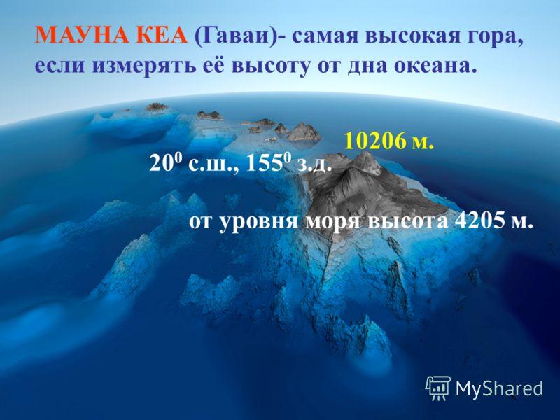 МАУНА КЕА (Гаваи)- самая высокая гора, если измерять её высоту от дна океана. 10206 м. от уровня моря высота 4205 м. 20 0 с.ш., 155 0 з.д.