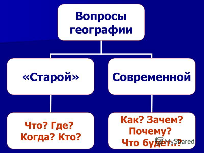 Вопросы географии «Старой» Что? Где? Когда? Кто? Современной Как? Зачем? Почему? Что будет..?