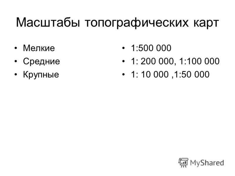 Масштабы топографических карт Мелкие Средние Крупные 1:500 000 1: 200 000, 1:100 000 1: 10 000,1:50 000