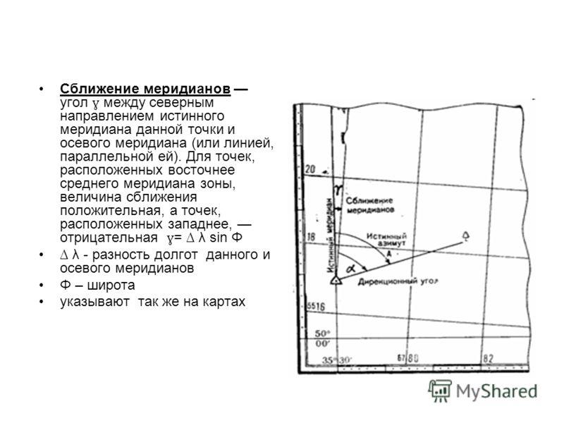 Сближение меридианов угол ɣ между северным направлением истинного меридиана данной точки и осевого меридиана (или линией, параллельной ей). Для точек, расположенных восточнее среднего меридиана зоны, величина сближения положительная, а точек, располо