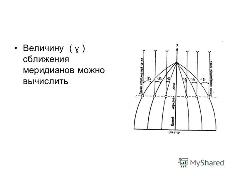 Величину ( ɣ ) сближения меридианов можно вычислить