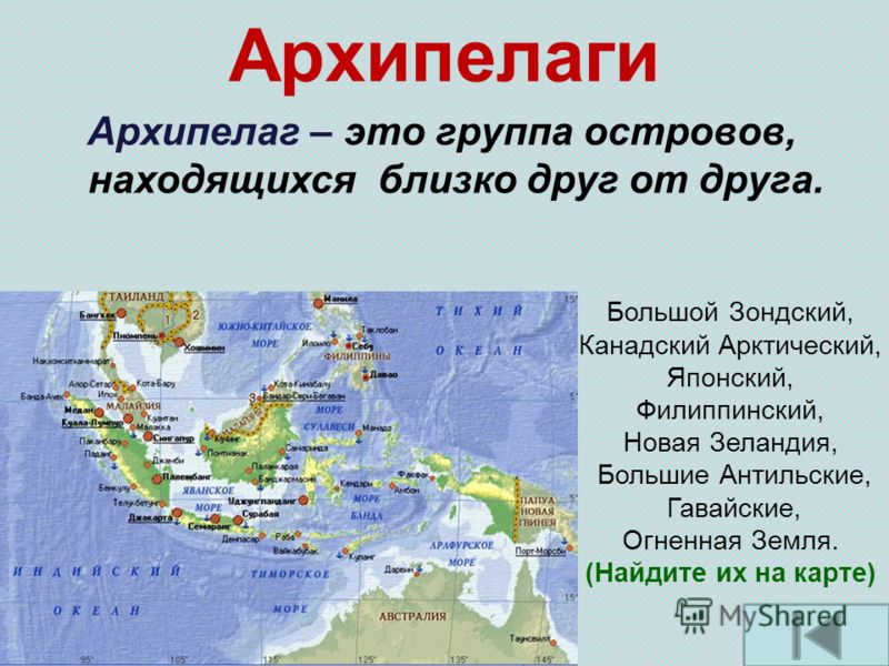 Архипелаги Архипелаг – это группа островов, находящихся близко друг от друга. Большой Зондский, Канадский Арктический, Японский, Филиппинский, Новая Зеландия, Большие Антильские, Гавайские, Огненная Земля. (Найдите их на карте)