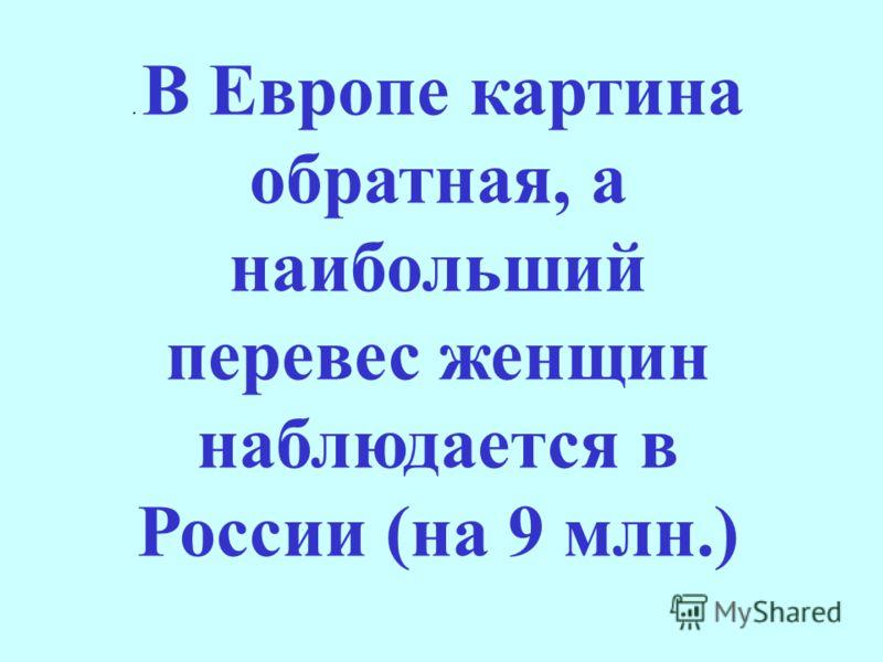 . В Европе картина обратная, а наибольший перевес женщин наблюдается в России (на 9 млн.)